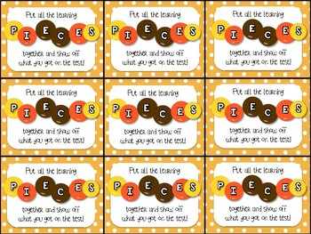 Reeses Pieces Testing Motivation Treat Tags (Chocolate/ Sweets Gift Tag)