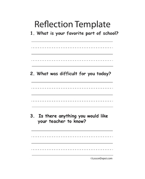 Refelctions Lesson Plan Template
