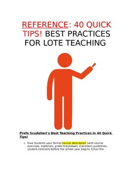 Reference - 40 Quick Tips: Best Practices for Foreign Language (LOTE) Teachers