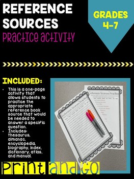 Reference Book Sources Activity
