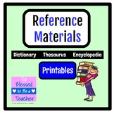 Reference Books Printables - Dictionary, Thesaurus, and En