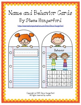 Reference Cards (Name Cards, Behavior and Homework Incenti
