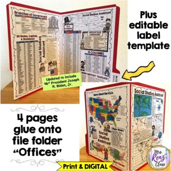 Social Studies Reference Chart Lapbook  (USA Edition) Grades 3-5