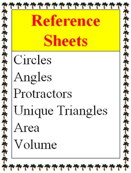 Reference - Circles, Angles, Protractors, Unique Triangles, Area, Volume