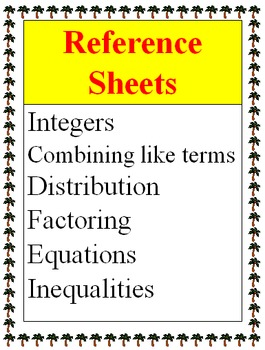 Reference - Integers, Expressions, Equations, Inequalities