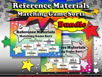 Reference Materials Game Sort Bundle: Encyclopedia Dictionary Thesaurus and More