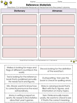 Reference Materials: Dictionary and Almanac Cut and Paste Activity
