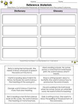 Reference Materials: Dictionary and Glossary Cut and Paste Activity