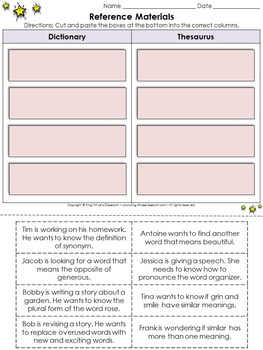 Reference Materials: Dictionary and Thesaurus Cut and Paste Activity