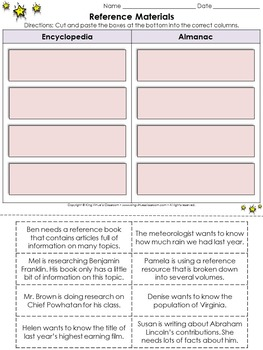 Reference Materials: Encyclopedia and Almanac Cut and Paste Activity