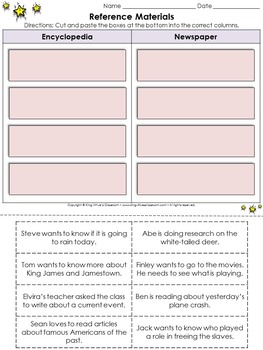 Reference Materials: Encyclopedia and Newspaper Cut and Paste Activity