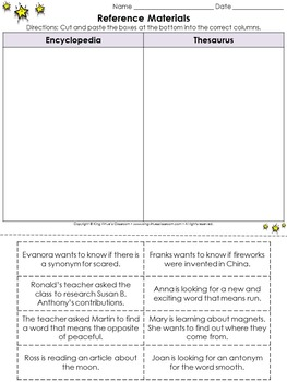 Reference Materials: Encyclopedia and Thesaurus Cut and Paste Activity