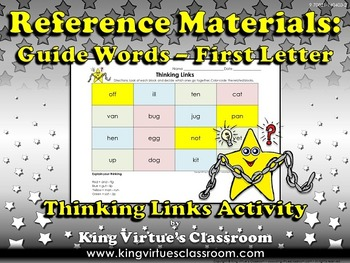 Reference Materials: Guide Words (ABC Order) Thinking Links #1 - First Letter