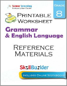 Reference Materials Printable Worksheet, Grade 8