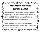 Reference Materials Sorting Center and Practice Worksheet