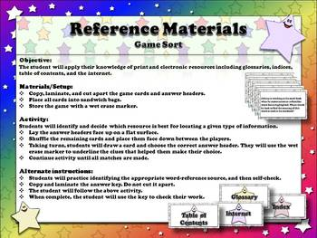 Reference Materials: Table of Contents, Index, Glossary, and Internet sort