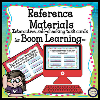 Reference Materials Task Cards - Boom Cards Interactive Task Cards
