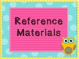 Reference Materials Task Cards and Posters