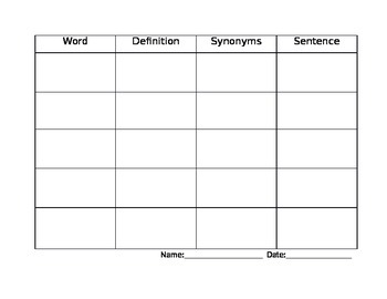 Reference Materials Using Weekly Vocabulary