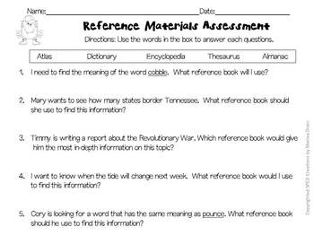 Reference Materials and Parts of a Book