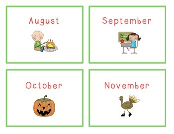 Spelling Cards for Writing: MONTHS