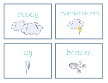 Spelling Cards for Writing: WEATHER
