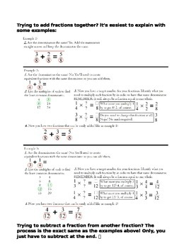 Reference Sheet for Adding and Subtracting Fractions