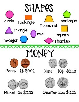 Reference Sheets -  word families, colors, numbers, shapes, money