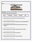 Reference Source Worksheets - Dictionary, Atlas, Map, Ency