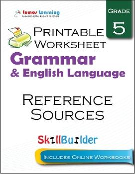 Reference Sources Printable Worksheet, Grade 5