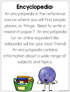 Reference Materials Lesson - Posters and Task Cards