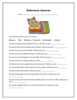 Reference Sources Worksheet