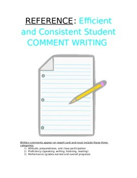 Reference - How to Write Student Comment: Easy & Consisten
