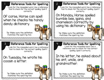 Spelling Task Cards (Using Reference Tools)