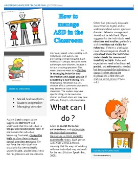 Reference guide to Autism in the Classroom
