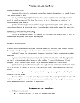 References and Numbers in Academic Writing/Research Papers