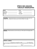 Referral Form For Speech Pathology - Kindergarten age