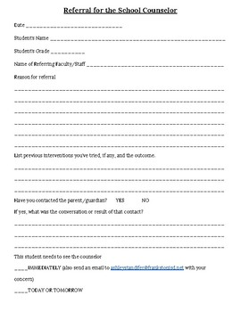 Referral Form for the School Counselor