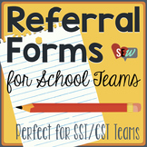 Editable Referral Forms: Intervention Teams, Student Support Teams, CST