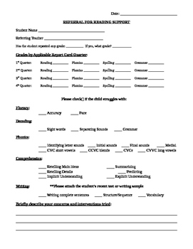 Referral for Reading Support