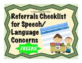 List of Student Referrals & Checklist for Speech-Language Concerns {FREEBIE}