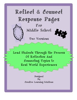Reflect & Connect Response Pages for Middle School