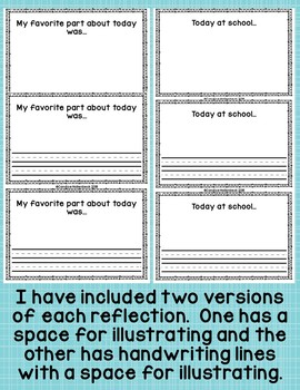 Reflect and Connect- Student Reflection Notes (Home to School Communication)