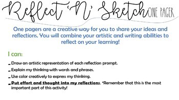 Reflect 'n' Sketch. A Reflection Activity to Reflect on any Assignment/Project