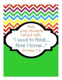 """Reflect with """"I used to think... Now I know..."""""""