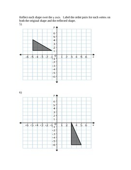 Reflecting Points and Shapes over the Axes