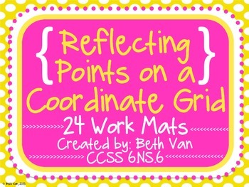 Reflecting Points on a Coordinate Grid 24 Work Mats CCSS 6.NS.6