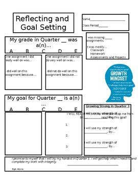 Reflecting and Goal Setting Worksheet