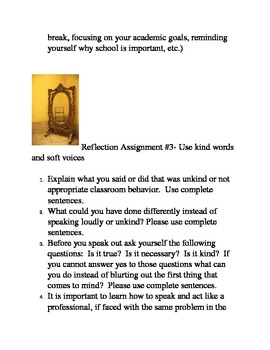 Reflection Assignments for Time Out