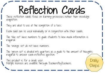 Reflection Cards - Exit Tasks - Thinking about Learning - Plenary Activities